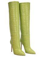 Paris Texas Croc-effect Leather Knee-high Boots - Verde