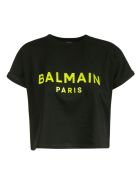 Balmain Cropped Logo Print T-shirt - Black/Green
