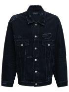 Balenciaga Barcode  Black Denim Jacket With Tears Detail - Black