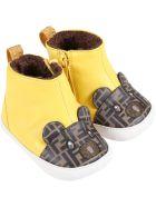 Fendi Yellow Boots For Baby Kids Wih Bear - Yellow