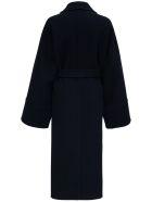 Jil Sander Black Wool Long Coat With Belt - Blu