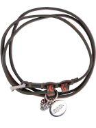 Alexander McQueen Leather Bracelet With Medallion And Skull - khaki