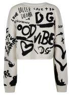Dolce & Gabbana Knit Logo Cropped Sweater - Bianco