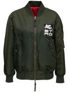 Etro Reversible Nylon Bomber Jacket With Logo - Green