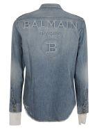 Balmain Rear Logo Distressed Denim Shirt - Denim