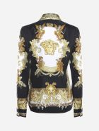 Versace Silk Shirt With All-over Baroque Print - Gold, white, black