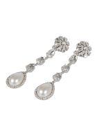 Alessandra Rich Pearl Drop Long Crystal Earrings - Cry Silver