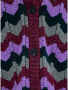 M Missoni Zig Zag Long Cardigan In Wool Blend - Multicolor