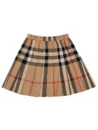 Burberry Vintage Check Cotton Pleated Skirt - Beige