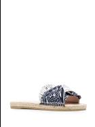 Manebi Woman Flat Sandals With Knot - Bandana - White And Navy Blue - Navy & white bandana