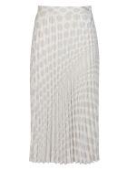 MM6 Maison Margiela White And Navy Viscose Skirt - Bianco