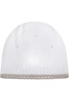 Little Bear White Hat For Babykids With Polka-dots - White