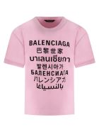 Balenciaga Pink T-shirt For Kids With Logos - Pink