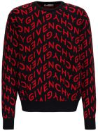Givenchy Wool Sweater With Allover Refracted Logo Jacquard - Red