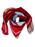 Burberry Double Print Love Silk Square Scarf - Red/Camel