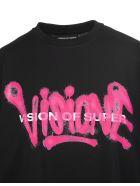 "Vision of Super Black And Fuchsia ""visione"" Man T-shirt - Nero/viola"