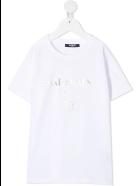 Balmain Unisex Kid White And Sliver Logo T-shirt