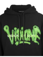 """Vision of Super Black And Fluo Green Man """"visione"""" Hoodie - Black/green"""