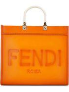 Fendi Sunshine Leather Tote - Orange