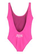 GCDS One-piece Swimsuit With Logo - Fucsia