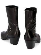Celine Studded Leather Ankle Boots - black