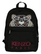 Kenzo Tiger Embroidered Backpack - Black/Pink