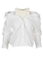 T by Alexander Wang Layered Off-the-shoulder Shirt - WHITE