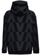 Valentino Black Cotton Hoodie With Macro Optical Print - Black