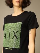 Armani Collezioni Armani Exchange T-shirt Armani Exchange Cotton T-shirt With Big Sequin Logo - Black