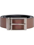 Burberry Leather And Fabric Reversible Belt - brown
