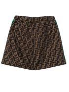 Fendi Brown Ff Logo Shorts - Zucca