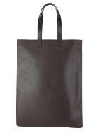 Comme des Garçons Wallet Comme Des Garcons Wallet Leather Logo Print Tote Bag - BROWN