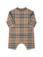 Burberry Beige Babygrow For Baby Kids With Vintage Checks - Beige