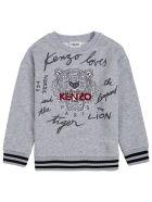 Kenzo Kids Grey Cotton Sweatshirt With Logo Print - Grey