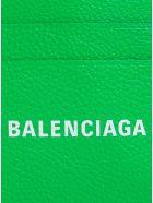 Balenciaga Green Leather Card Holder With Logo - Green