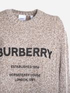 Burberry Wool Blend Sweater With Contrasting Logo Print - Camel
