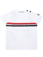 Moncler White T-shirt For Babyboy With Patch - White