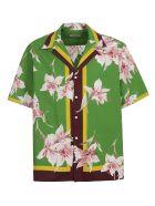 Valentino Regular Fit Floral Print Shirt - Green/Pink/Yellow