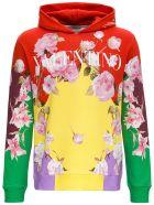 Valentino Multicolor Jersey Hoodie With Logo Print - Multicolor