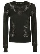 Dolce & Gabbana Floral Lace Paneled Sweatshirt - Black