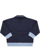 Fendi Blue Cardigan For Baby Boy With Doubles Ff - Blue
