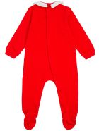 Moschino Red Cotton Romper And Bib Set With Teddy Bear Print - Red