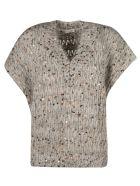 Brunello Cucinelli Bead Embellished V-neck Knit Top - Grey