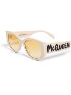 Alexander McQueen Beige Acetate Sunglasses With Logo Print - Beige