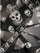 Alexander McQueen Fo Skull Print Fringed Edge Scarf - Nero