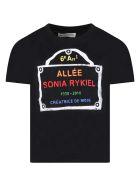Sonia Rykiel Black T-shirt For Girl With Logo - Black