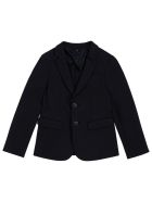 Emporio Armani Black Viscose Blend Blazer - Black