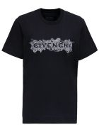 Givenchy Black Cotton T-shirt With Logo Print - Black
