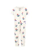 Bobo Choses Ivory Jumpsuit For Girl With Logos - Ivory