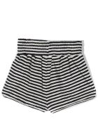 Douuod Black And White Cotton Blend Shorts - Rigato